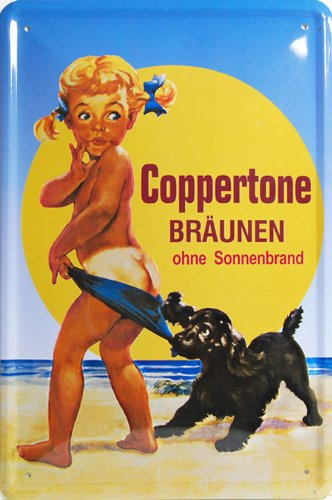Coppertone Braunen, Metal Tin Sign, Vintage Style Wall Ornament Coffee & Bar Decor, 20 X 30 Cm.