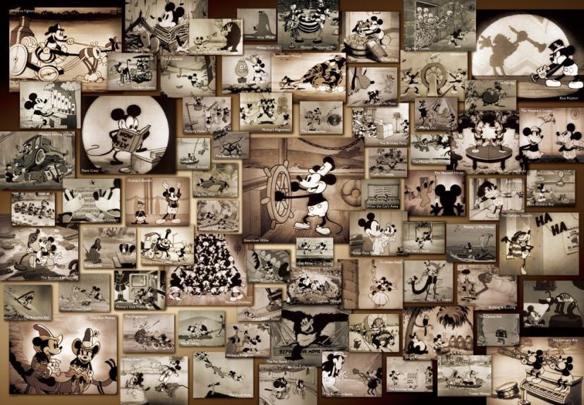 1000ピース ジグソーパズル ディズニー ミッキーマウス モノクロ、ディズニー