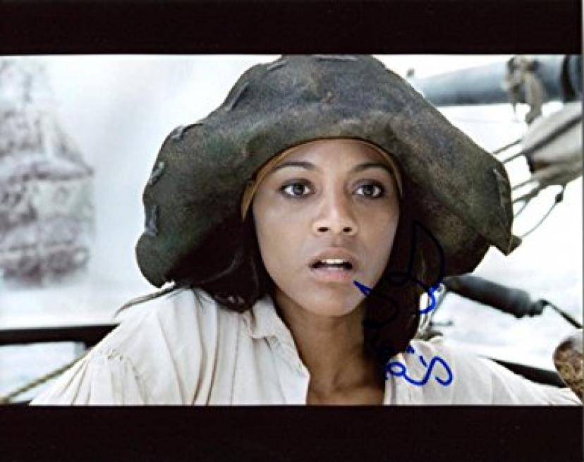 ZOE SALDANA signed *PIRATES OF THE CARIBBEAN* 8x10 Photo Anamaria PROOF W/COA #8