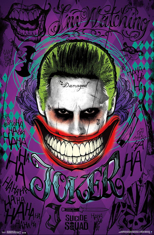 口元イラストのスーサイドスクワッドのジョーカーのスマホ壁紙