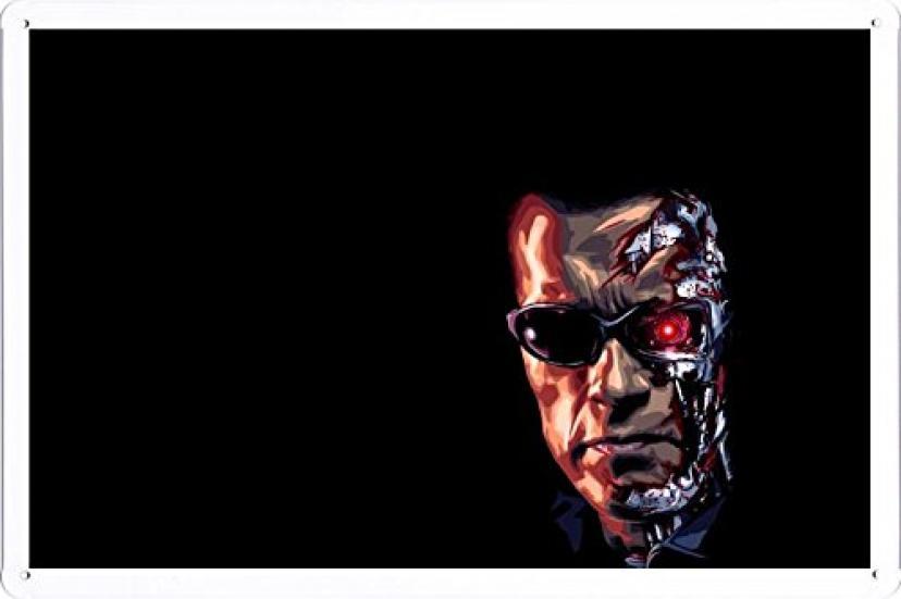 ターミネーターロボットの顔メガネスカルプ黒背景64926 の金属看板 ティンサイン ポスター / Tin Sign Metal Poster of Terminator Robot Face Glasses Scalp Black Background 64926