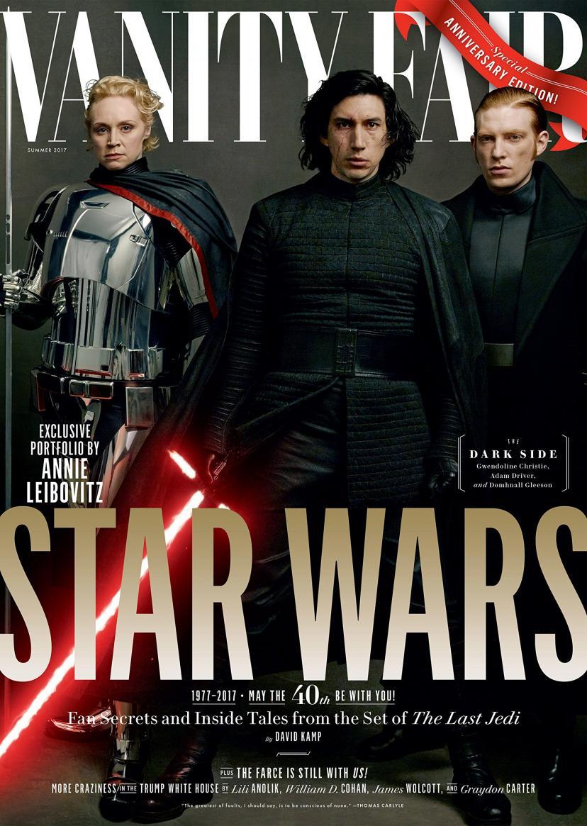 Vanity Fair Magazine (Summer, 2017) Star Wars: The Last Jedi The Dark Side General Hux (Domhnall Gleeson), Captain Phasma (Gwendoline Christie), Kylo Ren (Adam Driver)
