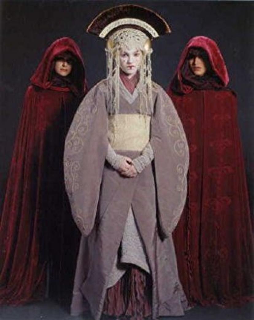 ブロマイド写真★『スター・ウォーズ/EP1』アミダラ(ナタリー・ポートマン)/着物のような服・お付の2人と