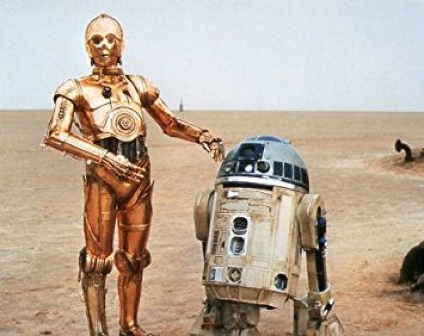 ブロマイド写真★『スター・ウォーズ』R2-D2 & C-3PO/砂漠に立つ