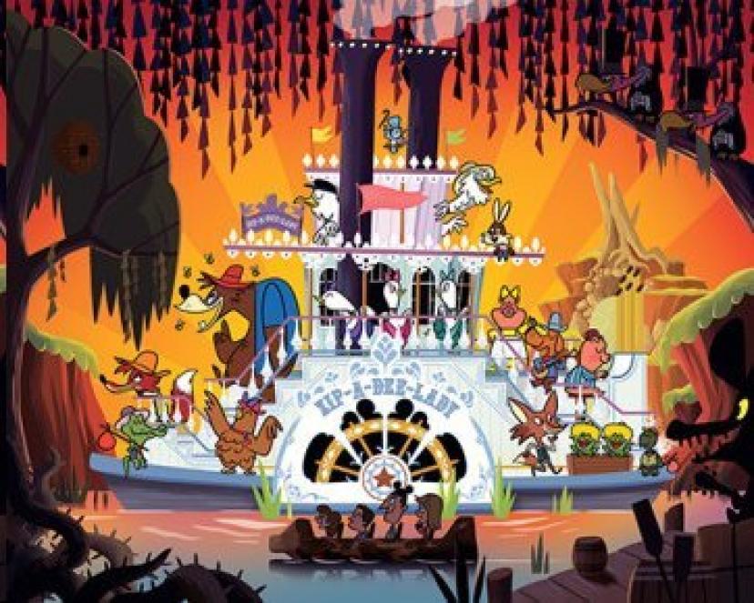 Disneys Wonderground Gallery Splash Mountain Art Postcard