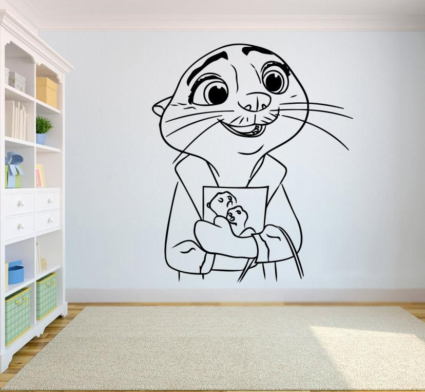 Mrs Otterton Zootopia Vinyl Decal Zootopia Sticker Wall Child Room Boys Bedroom Applique Graphic Wall zoot21