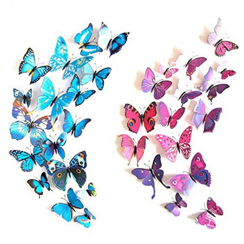 JPSOR ウォールステッカー 3D蝶型貼り紙 壁や冷蔵庫、寝室、リビング教室飾り用貼り紙 72枚入り 青い蝶12枚、紫の蝶12枚、赤の蝶12枚、薔薇色の蝶12枚、黄色い蝶12枚、緑色の蝶12枚