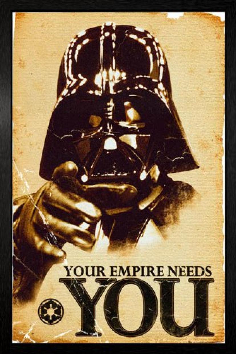 画像をクリックして拡大イメージを表示 Star Wars - Vader Needs You Framed Poster - 94.5x64cm