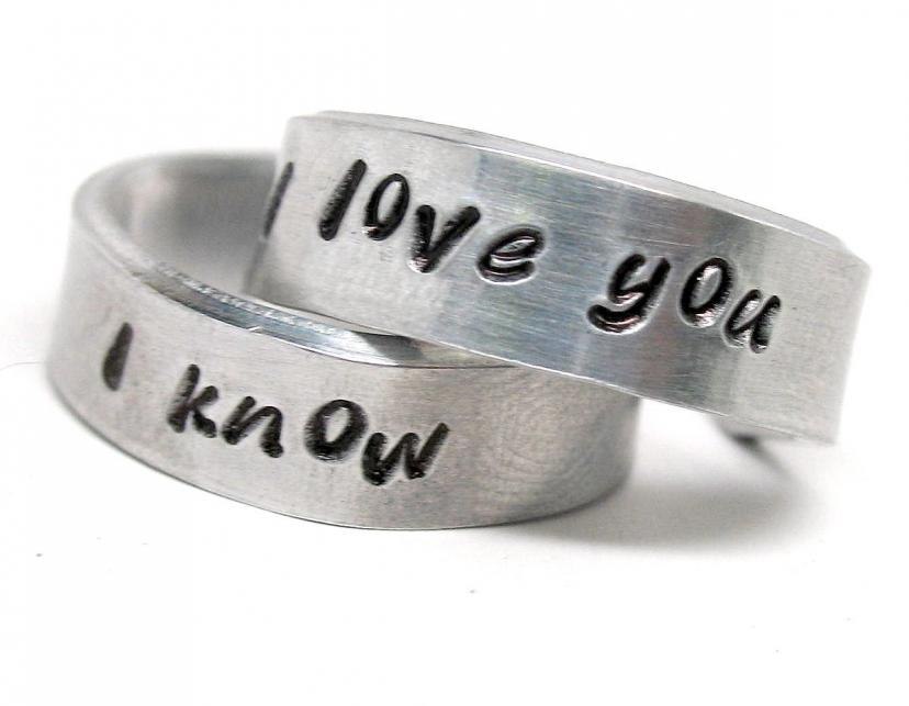 I Love You - I Know - A Pair of Han & Leia - Hand Stamped Rings - Valentine's Gift