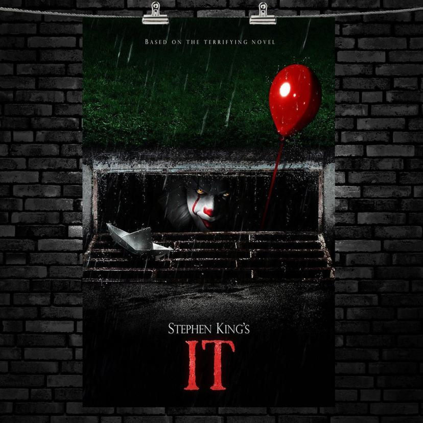 "IT Movie Poster Captures Opening Scene from the 2017 Movie - One of a Kind 11"" x 17"" Poster Print, Stephen King's Pennywise Clown Lurks in the Sewers. You'll Float, Too"
