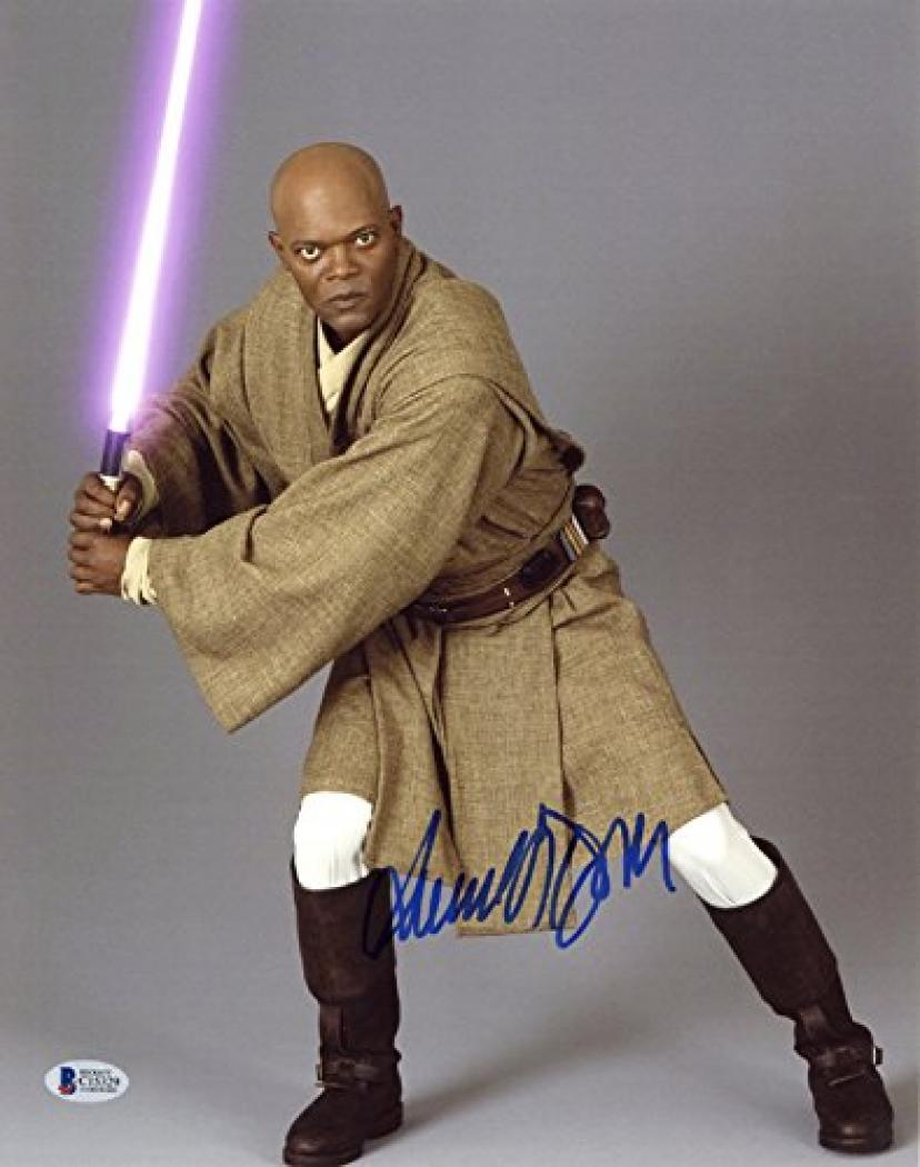SAMUEL L JACKSON SIGNED AUTOGRAPHED 11x14 PHOTO MACE WINDU STAR WARS BECKETT BAS