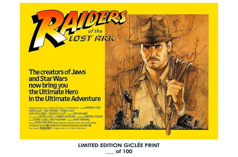 RARE POSTER indiana jones RAIDERS OF THE LOST ARK stephen spielberg 1981 george lucas REPRINT #'d/100!! 12x18