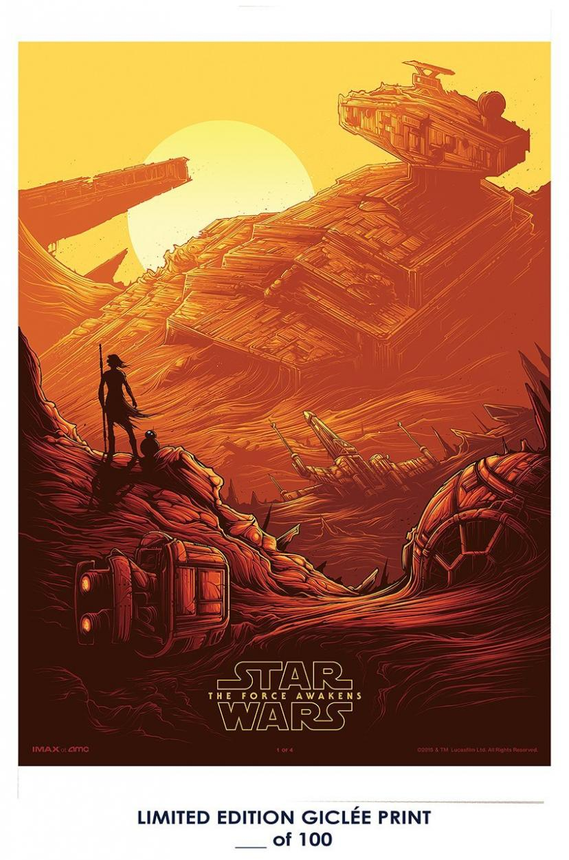 RARE POSTER thick STAR WARS: THE FORCE AWAKENS imax 2015 mondo REPRINT #'d/100!! 12x18