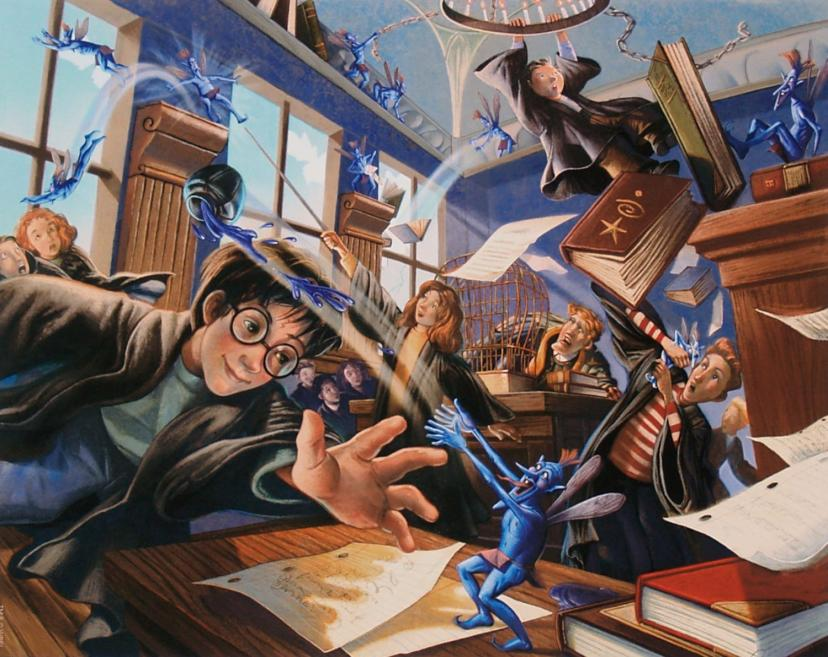 "Harry Potter: ""Pixie Mayhem"" by Mary GrandPre - Hand-Signed Limited Edition with COA, Giclee on Paper - Story by JK Rowling - Published by Clampett Studios[ピクシー]"