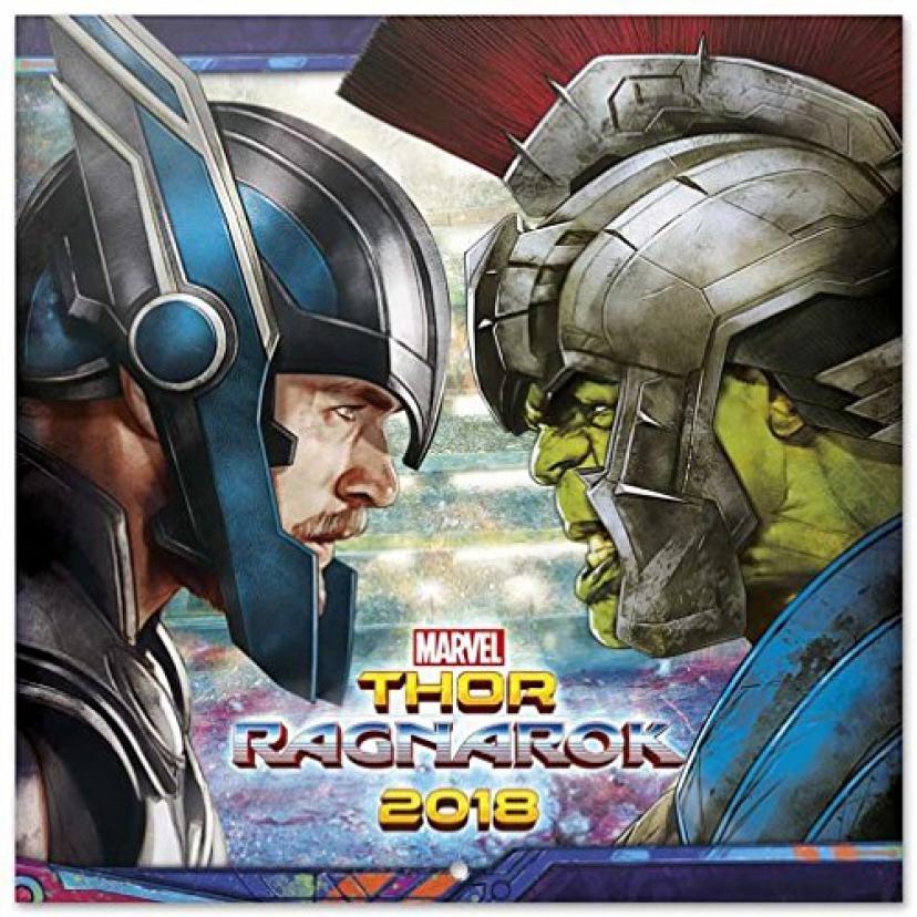セット: Thor、Ragnarok、公式カレンダー2018 ( 12 x 12インチ)と1 xバッジパック(6 x 4インチ)