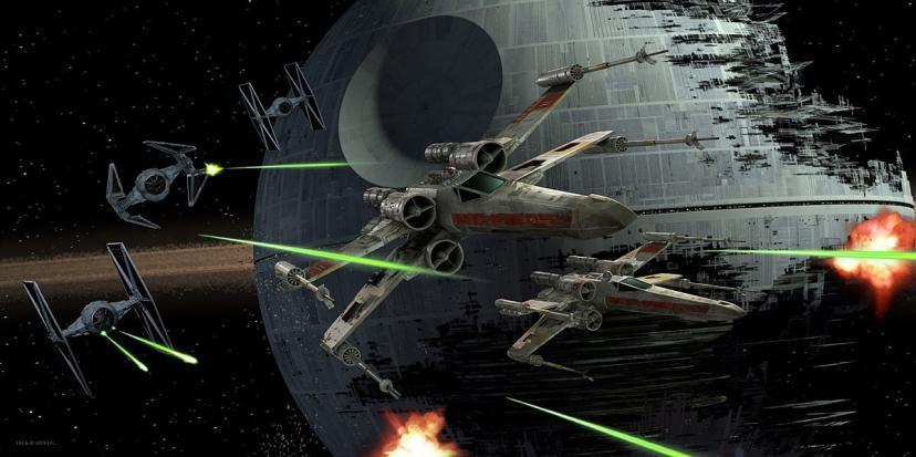 Star Wars Glas-Poster Tie Fighter vs. X-Wing