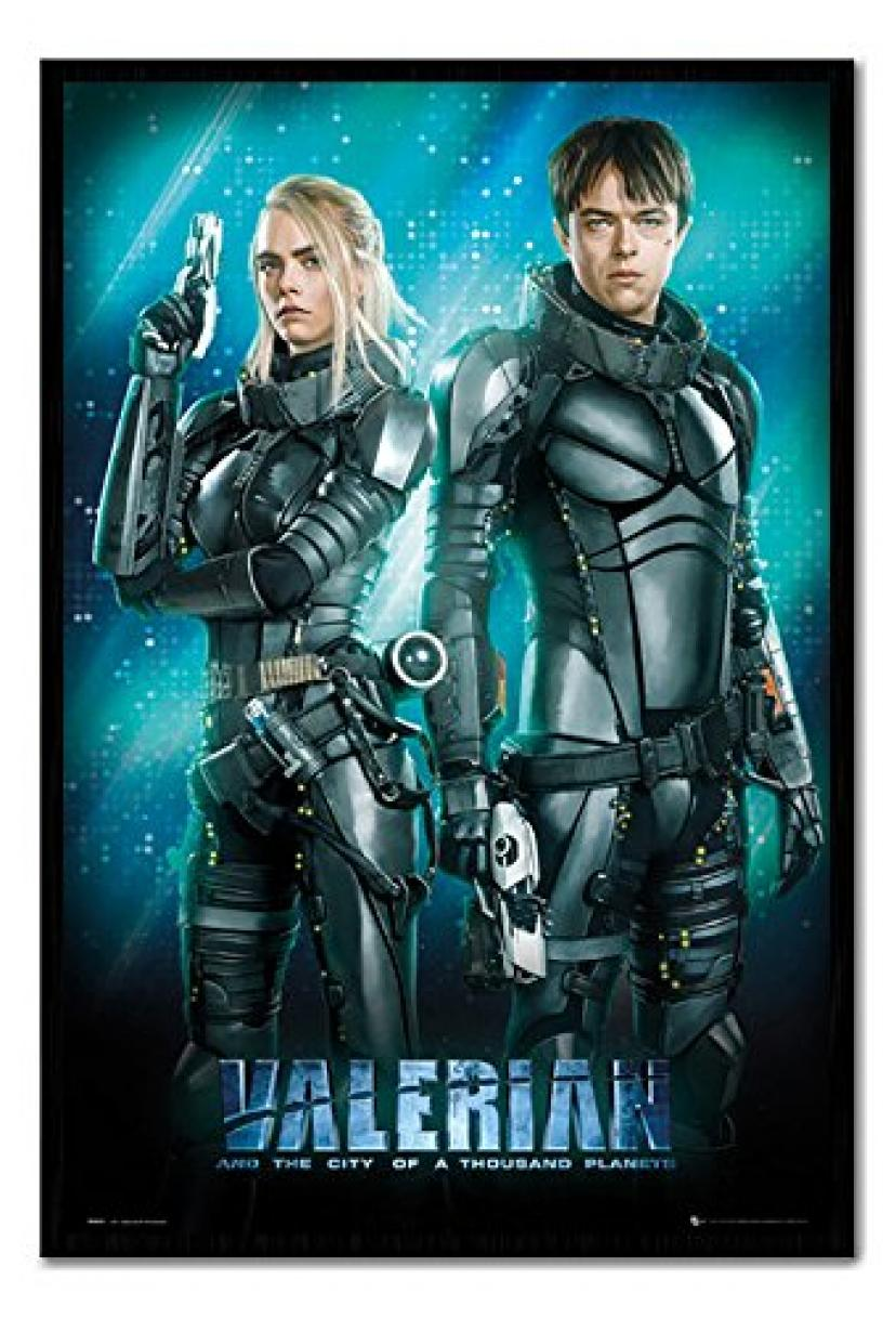 Valerian Duo Movie Poster Cork Pin Memo Board Black Framed - 96.5 x 66 cms (Approx 38 x 26 inches)