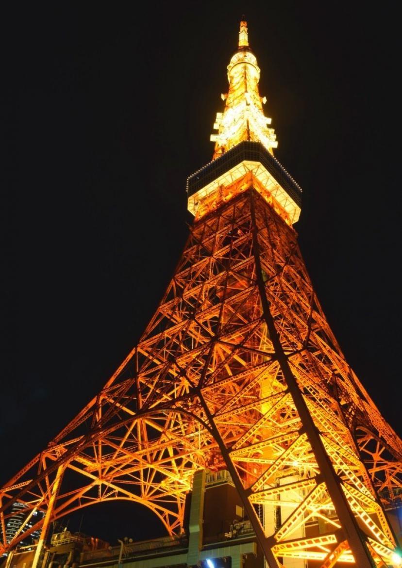 絵画風 壁紙ポスター (はがせるシール式) 東京タワー ライトアップ 夜景 東京オリンピック キャラクロ TKT-003A2 (A2版 420mm×594mm) 建築用壁紙+耐候性塗料