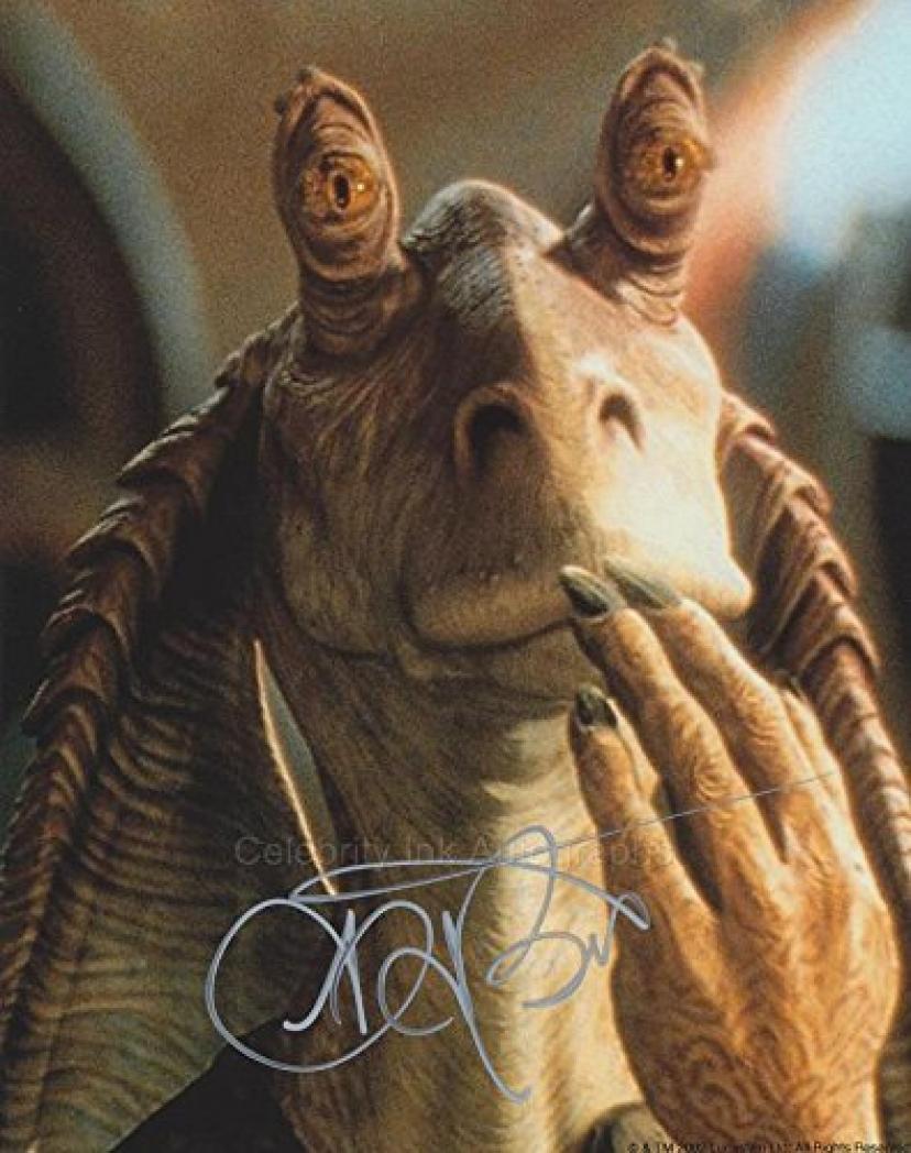 AHMED BEST as Jar Jar Binks - Star Wars: Episodes I, II and III GENUINE AUTOGRAPH【ジャージャービンクス/スターウォーズ】