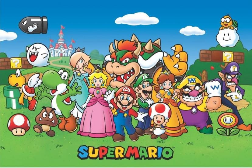 Super Mario Characters Video Gaming Poster 36x24