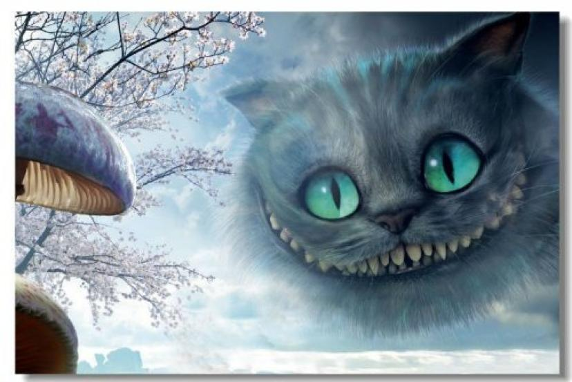 Alice in Wonderland Cheshire Cat Movie Cloth SIlk Poster Big Room Bar Mural Prints (015) - 24x36 inches