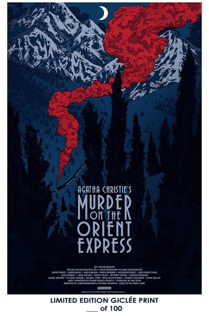 RARE POSTER agatha christie MURDER ON THE ORIENT EXPRESS movie 2017 giclee REPRINT #'d/100!! 12x18