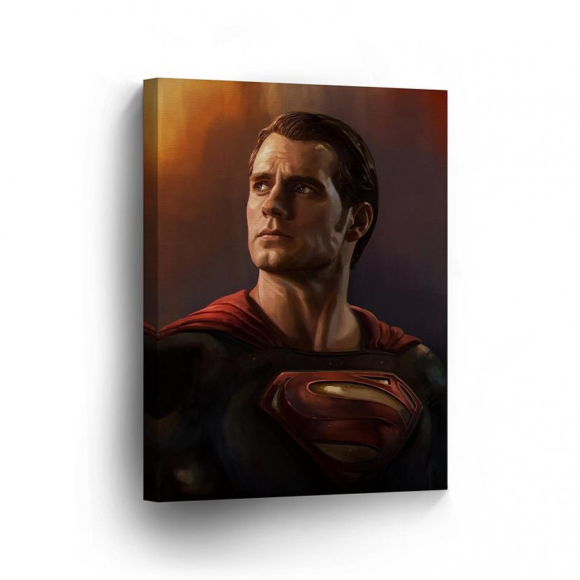 SUPERMAN Wall Art Canvas Print Men of Steel Henry Cavill Oil Painting Super Hero Wall Decoration Home Décor Artwork Wrapped Framed Wall Art Ready to Hang 12x8