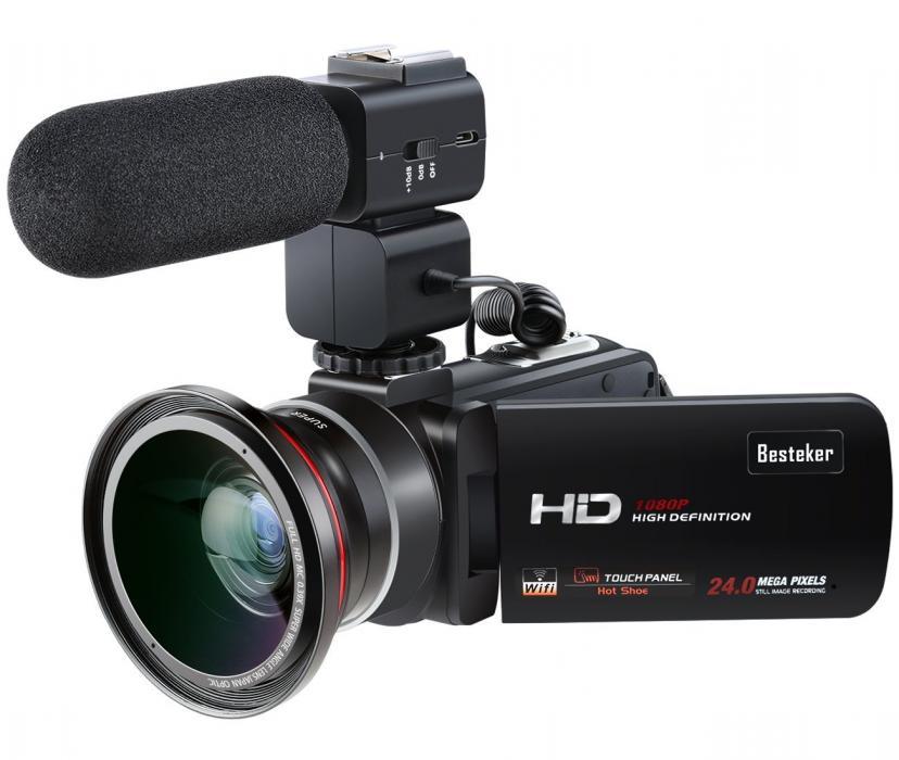 ビデオカメラ Besteker ポータブルビデオカメラ HD 1080P 30FPS(フレーム/秒) 2400万画素 外付けマイク 超広角レンズ搭載 ワイヤレスカメラ WIFI機能 ホットシュー機能  3.0 インチTFT-LCDタッチスクリーン 16倍デジタルズーム 270度回転 SDカード(最大64GB) サポート リモコン 日本語説明書&保証書付き(HDV-Z20)