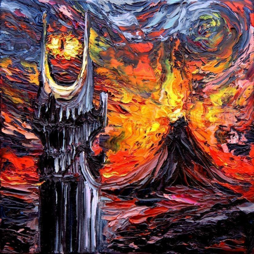 van Gogh Never Saw The Land Of Shadow - Sauron Eye Art by Aja