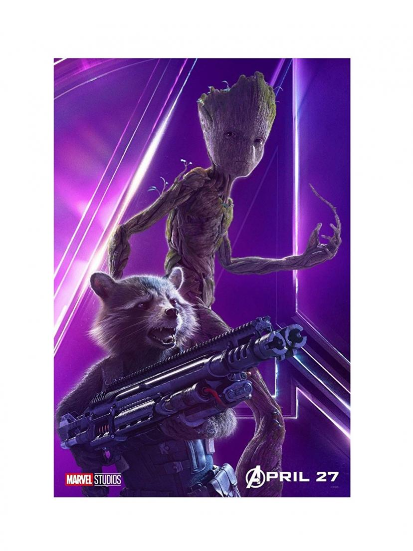 "Avengers Infinity War Movie 13x20"" 27x40"" 32x48"" Characters Film Print (Rocket and Groot, 36""x24"" (90x60cm))"
