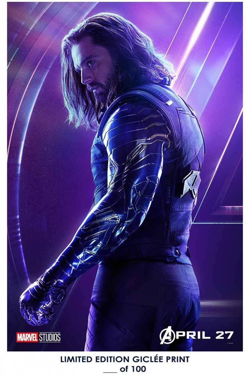 RARE POSTER thick BUCKY BARNES/WHITE WOLF the avengers: infinity war 2018 sebastian stan REPRINT #'d/100!! 12x18 ウィンターソルジャー バッキー インフィニティ
