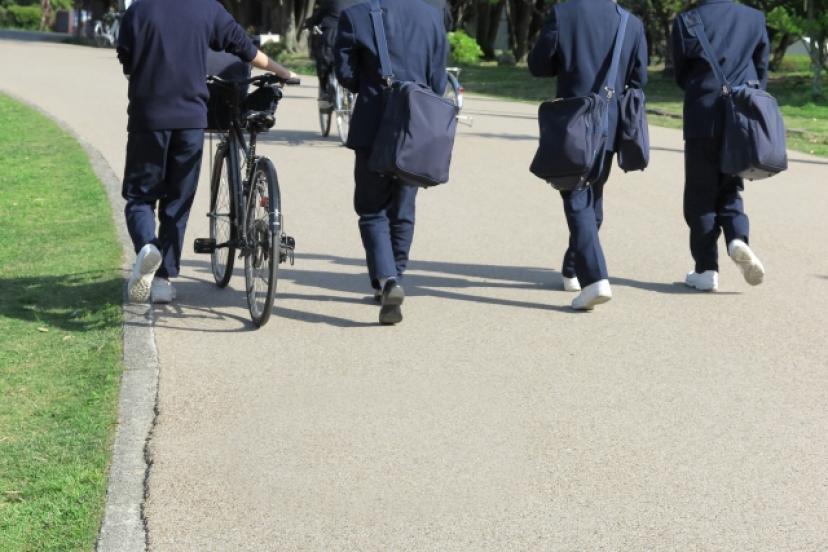 フリー画像、男子生徒、学生、帰り道、制服