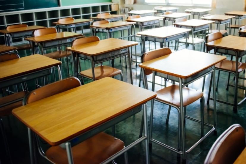 フリー画像、学校、教室、机、生徒、学園