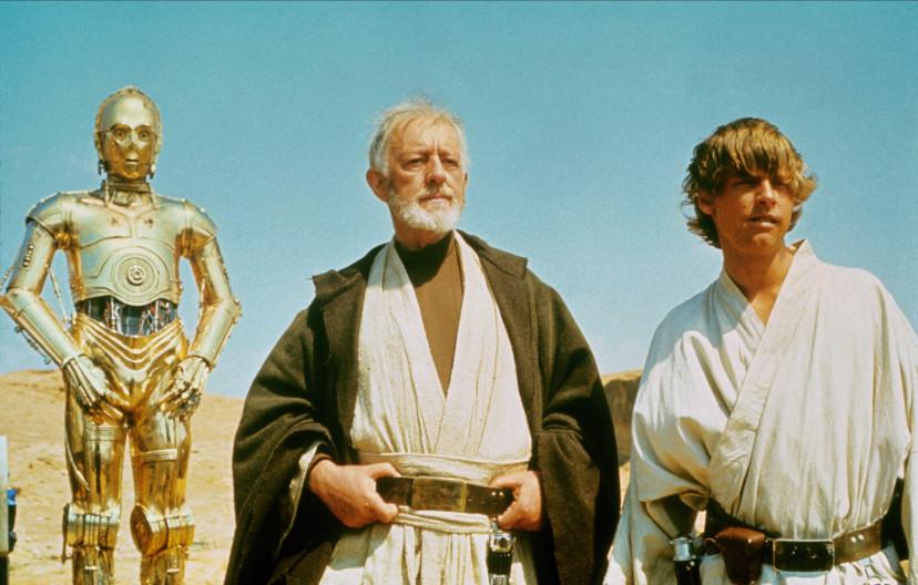 『スター・ウォーズエピソード4/新たなる希望』C-3PO、アレック・ギネス、マーク・ハミル