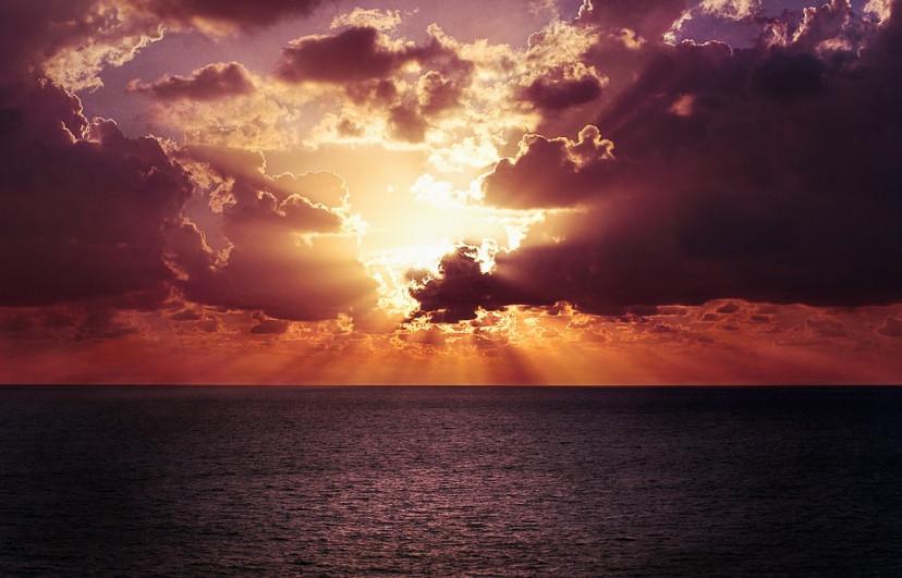 海 水平線 夕暮れ、フリー画像