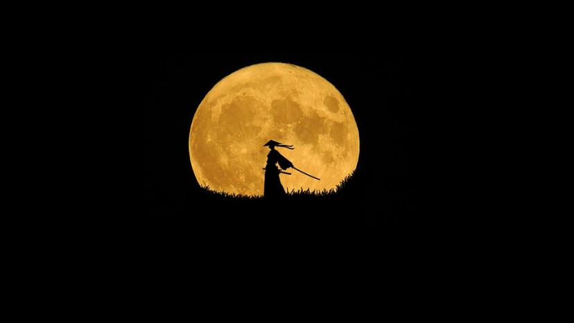 侍 刀 月 フリー画像